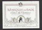 Etiquette De Vin Côtes Du Ventoux -  Marquis De Sade - Thème Personnage Célèbre - Vignerons De Canteperdrix à Mazan (84) - Etiquettes