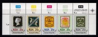 SOUTH AFRICA, 1990, MNH Control Block Of 5, Stamps On Stamps, M 795-799 - South Africa (1961-...)