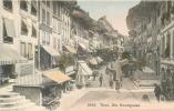 SWITZERLAND - THUN DIE HAUPTGASSE - COLOR STREET VIEW - PEOPLE, MARKETS - V/F VINTAGE ORIGINAL POSTCARD - BE Berne