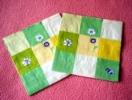 Lot De 2 Serviettes En Papier à Carreaux Jaunes Et Verts - Motif : Fleurs Des Champs - Neuves - Dimensions 33* 33 Cm - R - Serviettes Papier à Motif