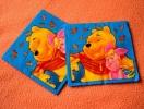 Lot De 2 Serviettes En Papier Bleu Winnie L´Ourson - Neuves - Dimensions 33* 33 Cm - Serviettes Papier à Motif
