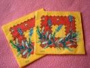Lot De 2 Serviettes En Papier Oranges - Neuves - Motif: Fleurs De Lavande - Dimensions 33* 33 Cm - Serviettes Papier à Motif