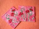 Lot De 2 Serviettes En Papier Roses - Neuves - Motif: œillets Roses - Dimensions 33* 33 Cm - Serviettes Papier à Motif