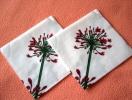 Lot De 2 Serviettes En Papier Blanches - Neuves - Motif: Fleur Rouge - Dimensions 33* 33 Cm - Serviettes Papier à Motif