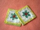 Lot De 2 Serviettes Jaunes ´Lorenzo´ - Neuves - Motif: Fleur Verte - Dimensions 24*24 Cm - Serviettes Papier à Motif