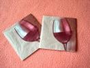 Lot De 2 Serviettes Brunes ´Red Wine´ - Neuves - Motif: Verre De Vin Rouge - Dimensions 12 * 12 Cm - Serviettes Papier à Motif