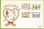 Grande-Bretagne 1981 972 à 975 FDC Europa Folklore Saint Valentin Coeur Danseurs Cheval Moisson - Europa-CEPT