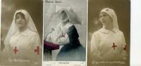 Lot De 3 Cartes : Infirmières De La Croix Rouge Et Soeur à Cornette - Croix-Rouge