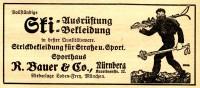 Original-Werbung/ Anzeige 1929 - SKI - AUSRÜSTUNG / BAUER & CO. NÜRNBERG - Ca. 115 X 50 Mm - Werbung