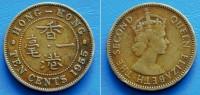 HONG KONG 10 (TEN) Cents 1955 QUEEN ELIZABETH II - Hong Kong