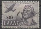 GREECE 1946 Victory. War Scenes - 1000d Supermarine Spitfire Mark II & Pilot  FU - Oblitérés