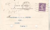 Carte Postale De 1927 Avec N°236 40 Ct Violet Semeuse Perforée PV (Palyart Pichot) Voir Scan.Tb état. - France