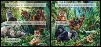 CENTRAL AFRICA 2015 - Endangered Species, Monkeys M/S + S/S Official Issue - Monkeys