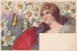 FEMMES/FLEURS/EVENTAIL/PAPILLON/ Réf:C3666 - Fleurs