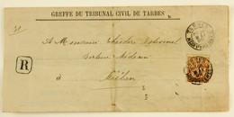 Lettre Recommandée Tarbes --> Miélan (Gers), Affr 40c Type Sage YT 94 - Marcophilie (Lettres)