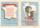 """03 CRECHY UJRF Jeunesse Républicaine Carte D'adhérent """"Parti Communiste"""" Vignette 1949 Section Varennes - Autres Communes"""