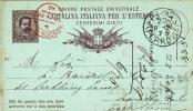 """Postkarte 1882 Filagrano C 7A/87 Nach """"PISA / (FERROVIA)"""" Nach London / England (s059) - 1878-00 Umberto I"""