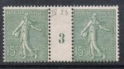 FRANCE N°130c N** En Paire Millésimée 3, Type 1