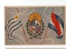 URUGUAY MONTEVIDEO TARJETA POSTAL COAT OF ARMS FLAGS UNUSUAL  Ca1900 POSTCARD Cpa Ak (W4_1638) - Uruguay