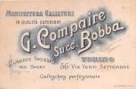 """02678 """"G. COMPAIRE - SUCC. BOBBA - MANIFATTURA CALZATURE - TORINO"""" GAMBIERE INGLESI PER SPORT. CARTONCINO PUBBL. - Paperboard Signs"""