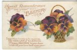 Art And Humour Publishing Postcard, Sweet Remembrance On Your Birthday, 1152 - Compleanni