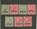 BRITISH LEVANT 1911 - 1913 VALUES SG L12, L13, L14, L15, L16, L17, L17a MOUNTED MINT Cat £31+ - Levant Britannique