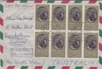 Italia 1957 Ovidio  Blocco 8 Su Busta Via Aerea Per Australia - 1946-60: Gebraucht