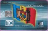 Moldavie °° Moldtelecom  -  50 Impulsuri  °  Drapeau National  -  Sc7  ***  T B E - Moldavie