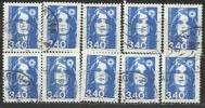 Y. Et T. 2716 Marianne De Briat 3,40F Bleu - Lot De 10 - Oblitérations Diverses - 1989-96 Marianne Du Bicentenaire