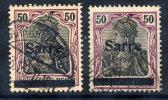 SAAR 1920 Overprint On 50 Pfg. On Both Papers, Used  Michel 13xaII, 13yaI (€96) - 1920-35 League Of Nations