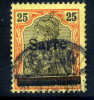 SAAR 1920 Overprint Type I On 25 Pfg.  Yellow-orange/black Shade, Used  Michel 9bI (€130) - 1920-35 League Of Nations