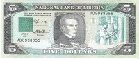 Liberia - Pick 19 - 5 Dollars 1989 - Unc - Liberia