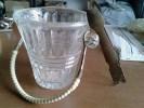 Secchiello Portaghiaccio Vetro Molato Con Pinze Anni 1940 Vintage-Ice Bucket-Seau à Glace - Caraffe