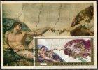 1155 Hungary, Maximum 1975  Painting Of Michelangelo,  The Creation  Adam,  In The Sixtine Chapel - Cartes-maximum (CM)