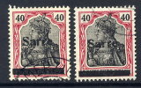 SAAR 1920 Overprint Types II And  III On 40 Pfg. , Used  Michel 12b II And III - 1920-35 League Of Nations