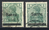 SAAR 1920 Overprint  On 5 Pfg.  In Two Shades, Used  Michel 4a III And 4b I - 1920-35 League Of Nations