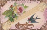 CPA Ajouti Découpi Tissu Ruban Hirondelle Fleurs Rose Bonne Année Fantaisie - Nouvel An