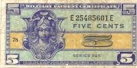 Billet - ETATS-UNIS - 5 Cents - Series 521 - Certificados De Pagos Militares (1946-1973)