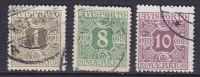 Denmark Verrechnungs Marke Newspaper Porto 1914-15 Mi. 1 Y, 11, 4 Y     1 Ø, 8 Ø, 10 Ø Avisporto - Port Dû (Taxe)