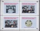Fantasy Label Beatles Music Band On Gold Coins Stamp On Coin OVERPRINT 4 Blocks - Música
