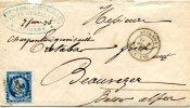 Vaucluse,lettre D´Avignon Càd Type 18 Du 1 Février 1876 Pour Beauvèze Basses-Alpes GC 260 Sur Cérès 25c Bleu - 1849-1876: Période Classique