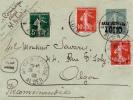 1909 - DEVANT D´ENVELOPPE ENTIER POSTAL RECOMMANDEE (RARE) TYPE SEMEUSE UTILISE En ALGERIE De ALGER - 1877-1920: Période Semi Moderne