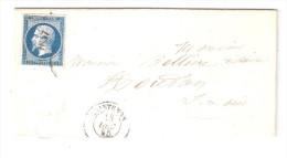 Lettre De Notaire De  MAINTENON ,Eure Et Loir Pc 1837 Sur N° 14, 13 Décembre 1856 > HOUDAN + Ambulant Paris Brest, Ind 5 - 1849-1876: Classic Period