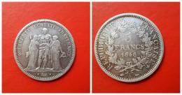 Francia  5  Francs   Plata  1848  A  Paris  24.86g  Hercules   MBC - J. 5 Franchi