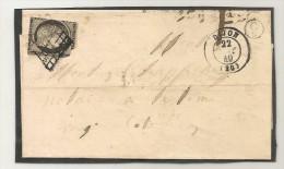 "FRANCE - CERES 1849 Yvert # 3 On FOLDED DIJON LETTER - Stamp Damaged - But Rare CIRCLE CANCEL ""C2""  - See Scan 2 - 1849-1850 Cérès"
