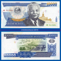 2002  LAOS 10 000 KIP TEMPLE  MEKONG BRIDGE KRAUSE 35a  UNC. CONDITION - Laos