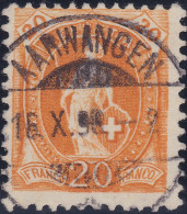 Heimat BE AARWANGEN 1896-10-16 Voll-Stempel Auf 20Rp Orange Zu#66A - 1882-1906 Armoiries, Helvetia Debout & UPU