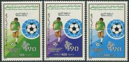 Libyan 1990. Michel #1846/48 MNH(**)/Luxe. Soccer. World Cup Italia-90 (TS22/B03) - World Cup