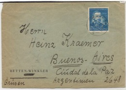 DEUTSCHLAND - GERMANY - Vf COVER From GEMÜNDEN To BUENOS AIRES Tied By Yvert # 46 - Invention Du Téléphone SEUL On COVER - BRD