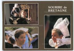 Sourire De Bretagne - Jeunes Filles En Costumes De Quimper, Vannes, Fouesnant - écrite Timbrée Pour Jeux - 2 Scans - France